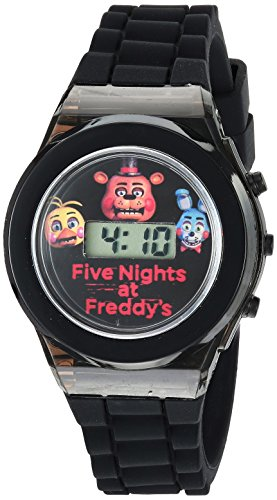 Five Nights at Freddys Boys Quartz Watch with Rubber Strap, Black, 0.6 (Model: FNF3004)