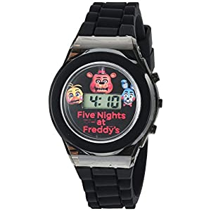 Five Nights at Freddy's Kids' Digital Watch with Black Case, Flashing LED Lights, Black Silicone Strap – FNaF Characters on the Dial, Safe for Children – Model: FNF3004