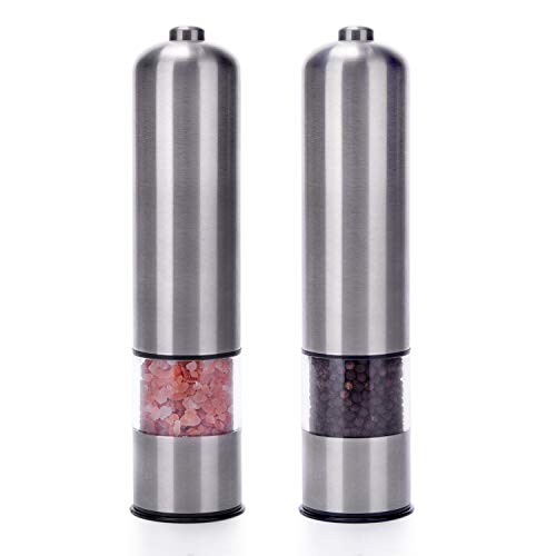 Salt and Pepper Grinder Set by Cookspah - Electric Refillable Stainless Steel Mills - Adjustable Ceramic Grinders - Light and Cap - One-handed Automatic Operation - 2 Mills Per Gift-boxed Set