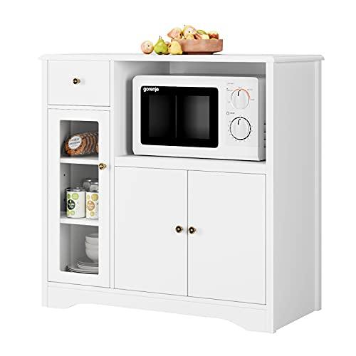 Mobile Credenza Cucina, Armadio Microonde in Legno, Credenza Moderna con Cassetti e 3 Ante, Mobiletto per Lavoro Cucina, Bianco, 90 x 40 x 82cm