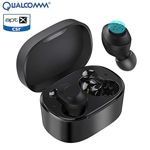 KUNGIX Bluetooth Kopfhörer in Ear, QCC 3020 Bluetooth 5.0 Active Noise Cancelling APTX HD Stereo Bass Headset Kabellos Ohrhörer Wasserdicht Sport Wireless Earbuds mit Portable Mini Ladebox Mikrofon