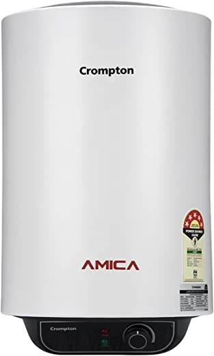 Crompton Amica 15-L 5 Star Rated Storage Water Heater (Geyser) with Free Installation and Connection Pipes (White)