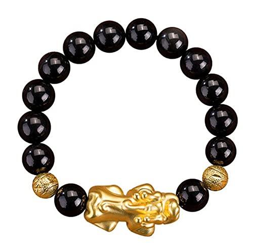 WANLIAN Feng Shui - Pulsera negra de 14 mm con 1 oro Pi Xiu/Pi Yao y 2 cuentas de mantra dorada para atraer a la suerte rica