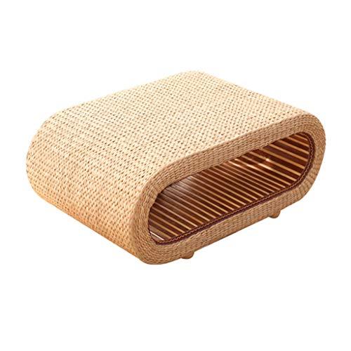 Tables Basse Côté Salon Basse en Tatami De Style Japonais pour Fenêtre Tissée À La Main De Rangement Minimaliste Moderne Basses (Color : Wood Color, Size : 60 * 45 * 35cm)