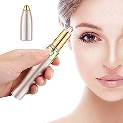 yidenguk Eyebrow Trimmer Painless Eyebrow Hair Remover Electric Eyebrow Razor Shaver Hair Removal Tool Portable USB Rechargeable Lipstick Shape 18K Gold Plated Trimmer Head with Light for Women from yidenguk