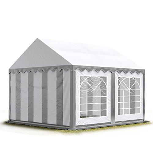 TOOLPORT Party-Zelt Festzelt 3x4 m Garten-Pavillon -Zelt 500g/m² PVC Plane in grau-weiß Wasserdicht
