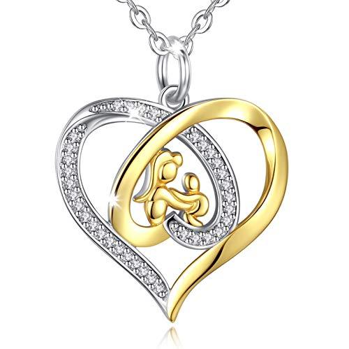 Eudora Amor de Madre Plata de Ley 925 Joyería Zirconia cúbica Chapado en Oro Colgante de corazón Collar con Cadena de 18'