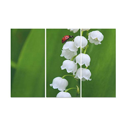 ZXWXNLA 3 Panel Love Wall Decor Lily of The Valley Flowers Wall Paintings for Bathroom Canvas Fabric Print Western Wall Art Decor for Home Living Room Bedroom Bathroom Wall Decor Posters