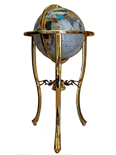 Unique Art 36-Inch by 13-Inch Floor Standing Pearl Ocean Gemstone World Globe with Gold Tripod