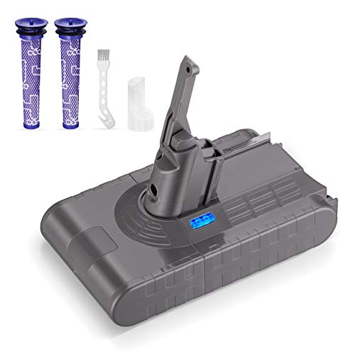 Powerextra 4000mAh Ersatzakku für Dyson V8 Li-ion 21.6V, kompatibel mit Dyson V8 Series V8 Absolute V8 Fluffy V8 Animal SV10, 2 Filter und 1 Bürste