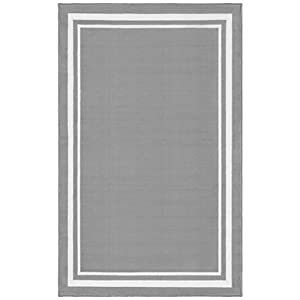 Evolur Home Nursery Rug 70″x52″ in Dove Grey with White Border