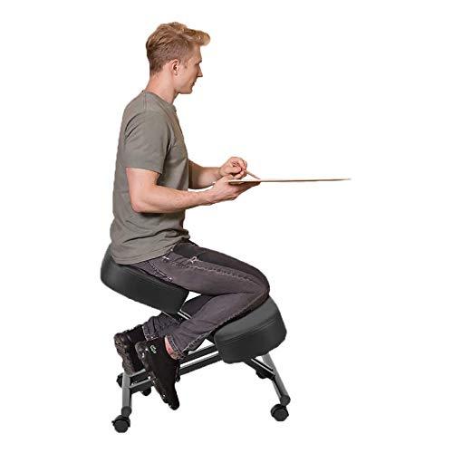 NXW Ergonomischer Kniestuhl Mit Rückenlehne Verstellbarer Hocker Für Zuhause Und Büro Mit Abgewinkeltem Sitz Für Eine Bessere Körperhaltung - Dicke, Bequeme Kissen