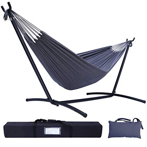 Hammock with Stand, Ohuhu Double Hammocks with Space Saving Steel Stand & Pillow, 2-Person Hammock...