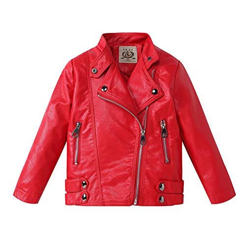 LSHEL Jungen Mädchen Kunst Lederjacke Kragen Motorrad Leder Mantel Kinder Biker Jacke, Rot, 134/140(Empfohlene Höhe 130cm)
