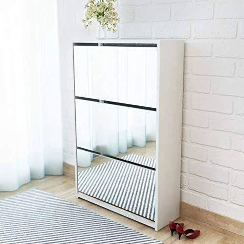 Cikonielf Zapatero con espejo para entrada, 63 x 17 x 102,5 cm, zapatero con 3 puertas abatibles, para aproximadamente 9 – 12 pares de zapatos, color blanco