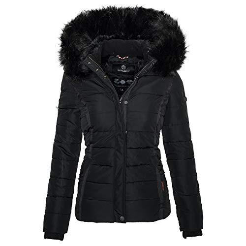 Navahoo Damen Winter Steppjacke Jacke mit abnehmbarem Fellkragen B355 [B355-Miamor-Schwarz-Gr.XL]
