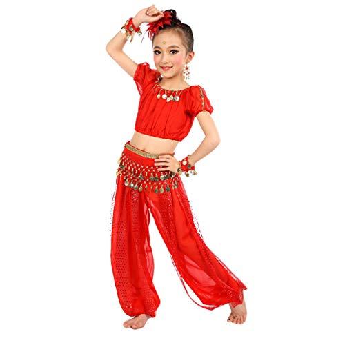 Andouy Mädchen Indische Kleidung Bollywood Orient Kleid Bauchtanz mit Zubehör für Halloween Karneval(S.Rot-1)