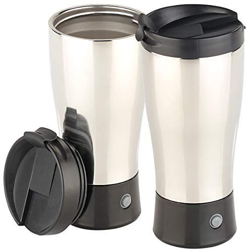 Rosenstein & Söhne Isolierbecher: 2er-Set selbstrührender Thermobecher mit elektrischem Quirl, BPA-frei (Milchaufschäumer Edelstahl)