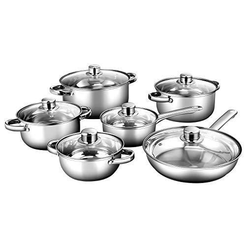 COSTWAY 6 Pieces Cookware Set Include Fry Pan, Saucepan and 4 Casseroles,...