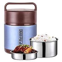 ステンレス魔法瓶漏れ防止デザインフードジャー断熱、箱弁当ハンドル付き折りたたみSpoopサーマルランチコンテナポータブルフラスコランチ真空ボトル (Color : Blue, Size : 2.0L)