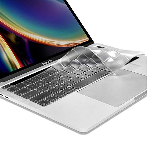 ProElife Ultra Thin Silicone Keyboard Cover Skin for Newest MacBook Pro 13.3' 13 inch 2020 with Apple Silicon M1 Processor / Touch ID / Touch Bar Accessories (for Mac pro 13'' M1, Clear)