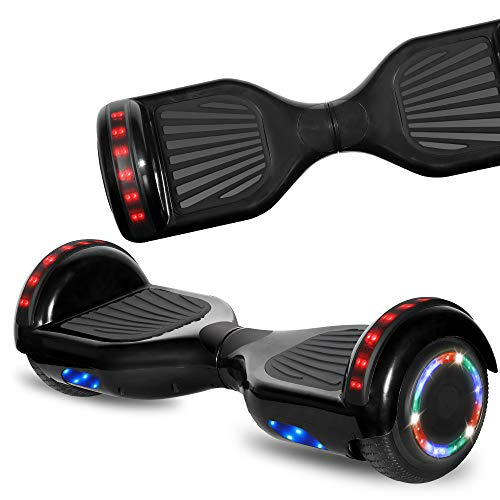 NHT Hoverboard Electric Self Balancing Scooter with Build in Bluetooth Speaker Hover Board LED Lights Safety Certified (STD Black)