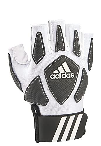 adidas Scorch Destroy 2 Half Finger Lineman's Gloves, White/Black, Large