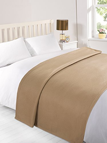 Dreamscene Warm Polar Fleece Throw Over Soft Sofa Bed Blanket Bedspread, Plain Mink - Beige - 120 x 150 cm