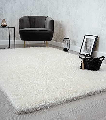 the carpet Willow - Alfombra de pelo largo para salón, dormitorio, moderna, suave, mate, monocolor, color crema, 160 x 230 cm
