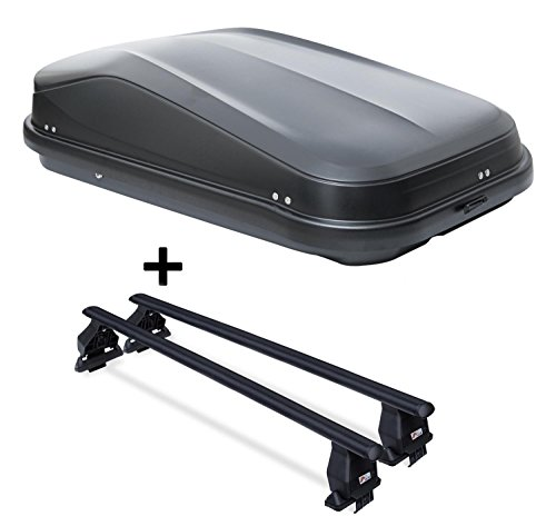 VDP Coffre de Toit jueasy320 320ltr Noir Brillant verrouillable + Barres de Toit Menabo Tema pour Hyundai Tucson TL (5 Portes) à partir de 2015