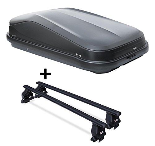 VDP Dachbox JUEASY320 320Ltr schwarz glänzend abschließbar + Dachträger Menabo TEMA kompatibel mit Nissan Qashqai J11 (5 Türer) ab 2017