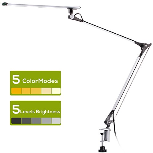 AVAWAY lampe de bureau LED dimmable Full Metal Swing ARM lampe de travail Soins oculaires lampe de lecture avec pince A1