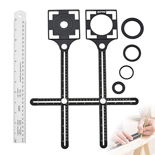 """ZOTA Angle Template Tool, 2PC Positioning Aperture with 5 -Hole Upgraded Aluminum Alloy Tile Tools + 12""""/300mm Straight Rule Multi-angle Measuring Ruler"""