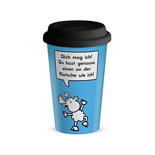 Die Geschenkewelt 44420 Becher mit sheepworld Motiv Dich mag ich, Du hast genauso einen an der Klatsche wie ich, Porzellan, 45 cl, mit Silikon-Deckel, hell-blau,schwarz