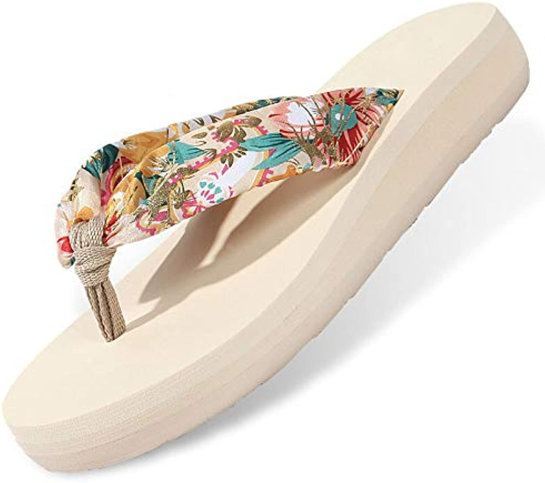 Bohemia Floral Beach Sandals Wedge Platform Thongs Slippers Flip Flops Summer Shose for Women Girls