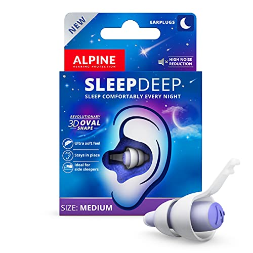 [New] SleepDeep Sleeping Ear Plugs - Revolutionary 3D Oval Shape and Noise Cancelling Gel to Maximize Comfort and Attenuation - Soft Filters for Side Sleeper - Reduce Snoring Sound - 1-Pair Reusable