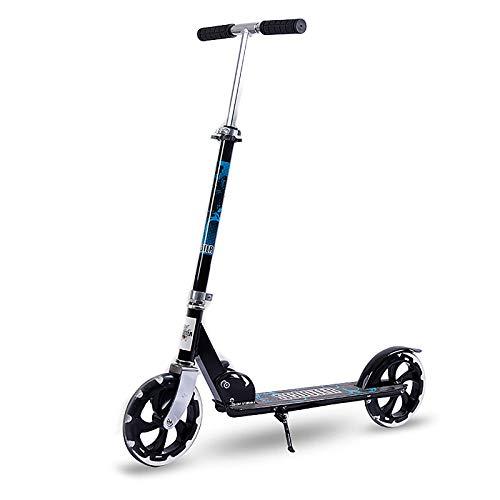 LABYSJ Scooter de 2 Ruedas, Bicicleta de Equilibrio portátil con Ruedas de PU y Manillar Ajustable, diseño Plegable Patinete, Scooters Ligeros para Adultos y niños, 150 kg,Negro