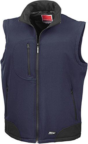 Resultado R123A Chaleco Softshell para Hombre, Liso, Unisex, Color Azul Marino y Negro, tamaño 2 X-Grande