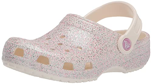 Crocs Kids' Classic Glitter Clog , Oyster, 4 Big Kid