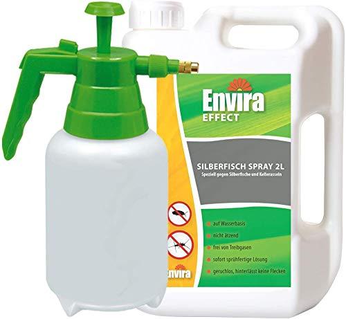Envira Silberfisch-Spray - Anti-Silberfisch-Mittel Mit Langzeitwirkung - Geruchlos & Auf Wasserbasis - 2L+2L Sprüher