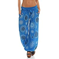 Malito Mujer Bombacho en Muchos Colores y Patrones Pantalón Yoga S3417 (Azul 3481, Adecuado de la Talla 36 hasta 44)