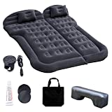 Car Inflatable Mattress with Pump, Portable SUV Air Bed for Camping, Home, Travel, Hiking, Full Size Blow Up Sleeping Pad with 2 Pillows, Extended Back Seat Airbed for Truck, RV, Upgraded (Black)