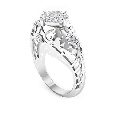 Anillo de compromiso con certificado SGL, IJ-SI, claridad de color de diamante, anillo de novia, anillo de boda ancho de filigrana, anillo de declaración de madres, 14K Oro blanco, Size:EU 63