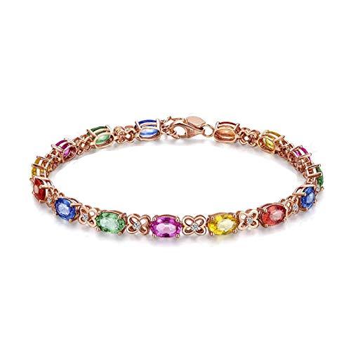 Daesar Echt 18K Rotgold Damen Armband Diamant Saphir 10 ct Kleeblatt 16.5 CM Rosegold Armband Frauen