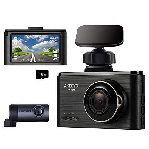 Car Camera-Dash Cam Front and Rear, AKEEYO 1080P 140