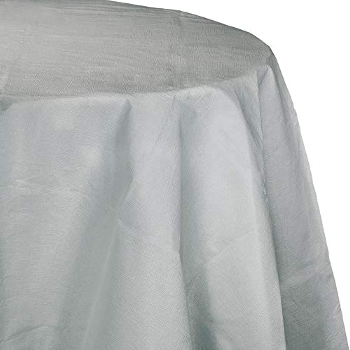 Creative Converting Tissue Poly Table Covers Octy Round Plastic Tablecloth, 3 Ply 82 Inch x 82 Inch for 60 Inch Round Tables - 3 Pack and Quantities (Shimmering Silver, 1-3 Pack)