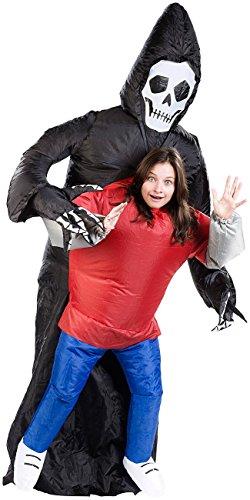Playtastic Kostüm aufblasbar: Selbstaufblasendes Kostüm Gruseliger Gevatter Tod (Karnevalskostüme aufblasbar)