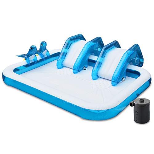 FIELDOOR すべり台付き キッズスライダープール大型250cm (アシカちゃんシャワー付!) 【ブルー】 &USB充電式電動エアーポンプセット (250cmX190cmX25cm)