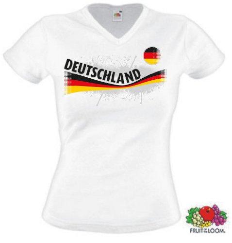 World-of-Shirt Damen T-Shirt Deutschland Vintage Shirt|weiß M
