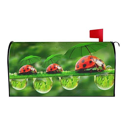 AuHomea Briefkastenabdeckung mit Regenschirm, Motiv: kleine Marienkäfer mit Regenschirm, magnetisch, 64,8 x 53,3 cm
